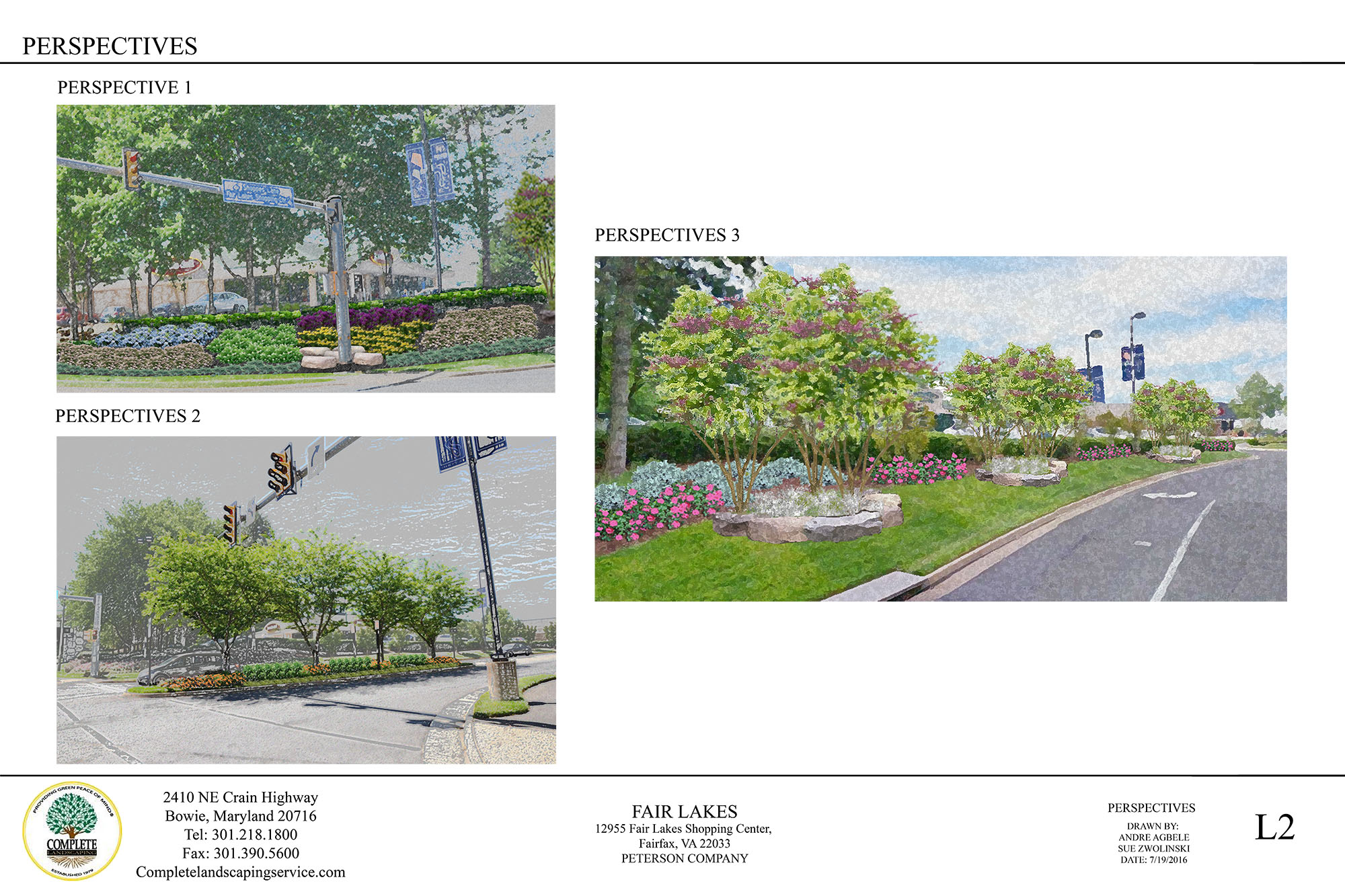 Commercial Landscape Design Perspective Drawings